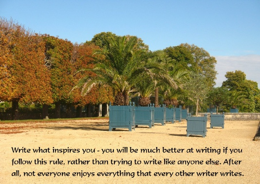 Write what inspires you - you will be much better at writing if you follow this rule.